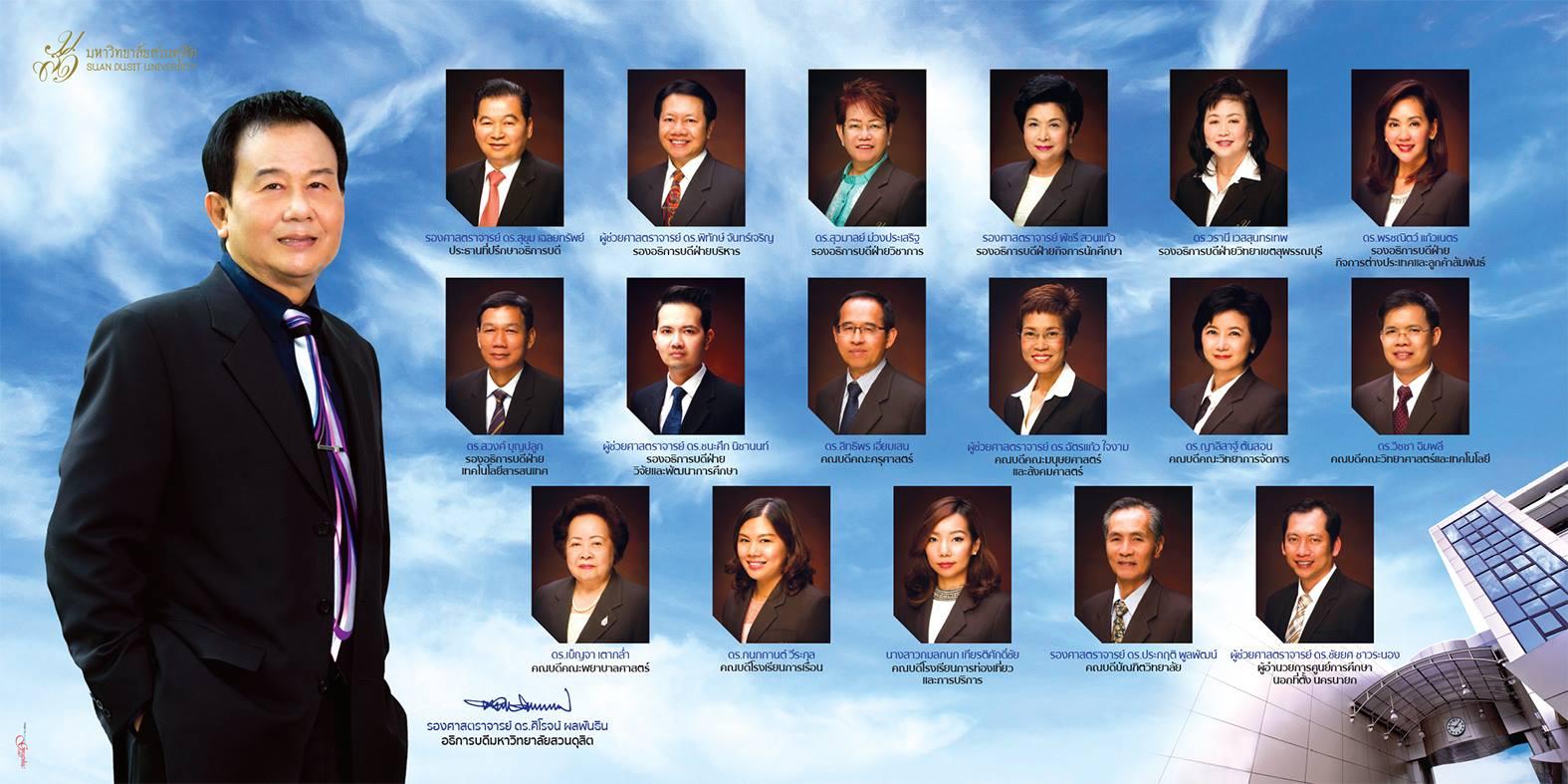 ผู้บริหาร อธิการบดี รองอธิการบดี ผู้อำนวยการศูนย์การศึกษานอกสถานที่ตั้งนครนายก